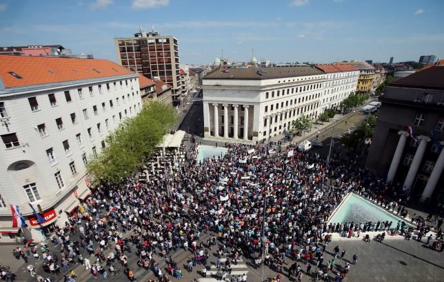 Swiss franc debtors march in Croatia, demand cen bank governor to resign